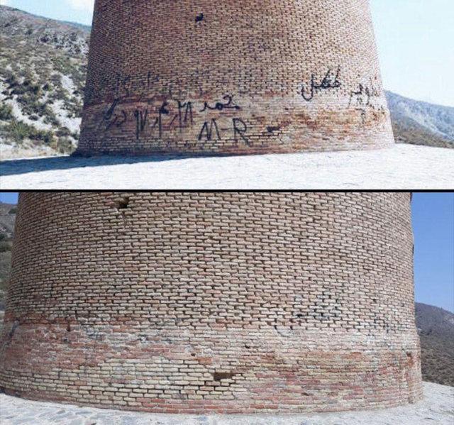 پاک کردن زخم های بی فرهنگی از پیکره اثر تاریخی هزار ساله